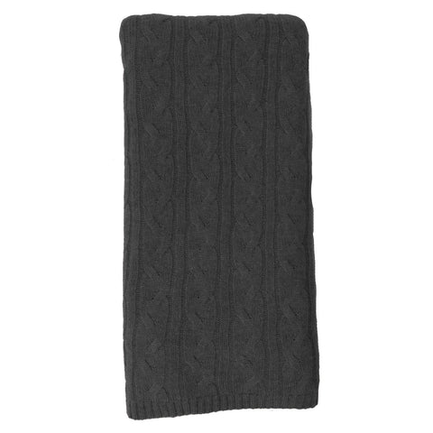 Alashan 100% Cashmere Cable Rope Stitch Knit Throw - Graphite