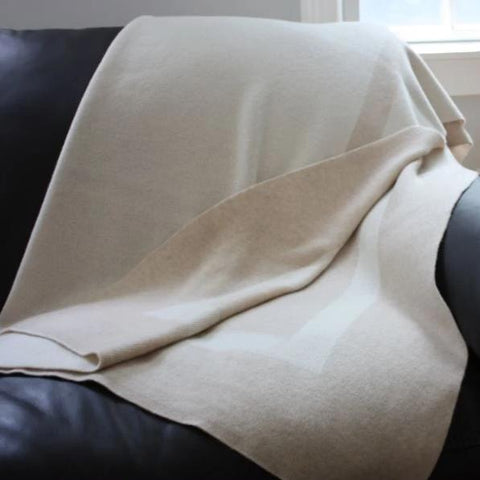 Alashan 100% Cashmere The Homestead Throw - Snow/Dune