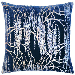 Kevin O'Brien Studio Metallic Willow Velvet Decorative Pillow - Cobalt Black