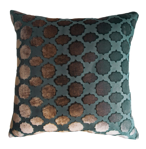 Kevin O'Brien Studio Mod Fretwork Velvet Decorative Pillow - Gunmetal
