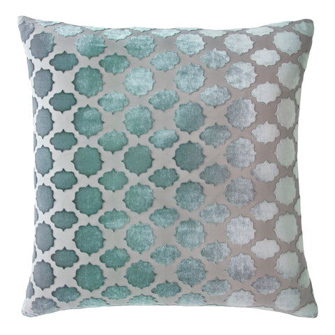 Kevin O'Brien Studio Mod Fretwork Velvet Decorative Pillow - Jade