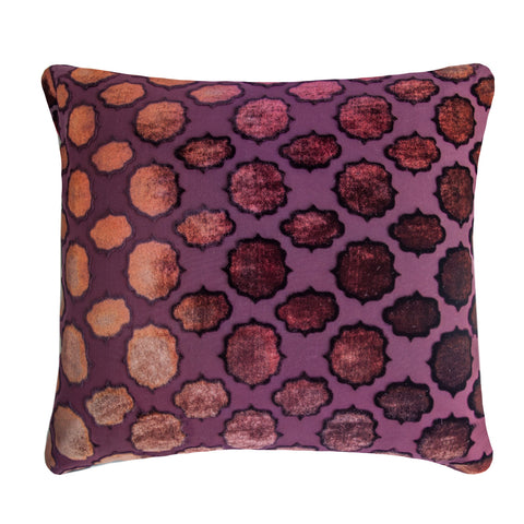 Kevin O'Brien Studio Mod Fretwork Velvet Decorative Pillow - Wildberry