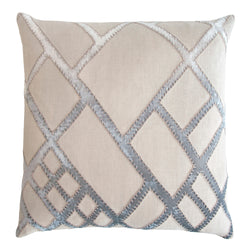 Kevin O'Brien Studio Net Appliqued Linen Decorative Pillow - Seaglass