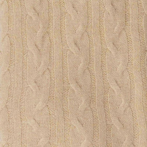 Alashan 100% Cashmere Cable Rope Stitch Knit Throw - Mongolian Cream