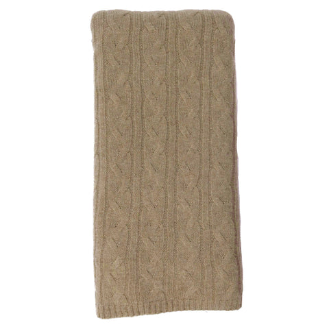 Alashan 100% Cashmere Cable Rope Stitch Knit Throw - Natural