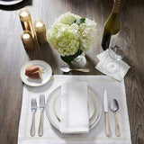 Sferra Perry Table Linens - White/Silver