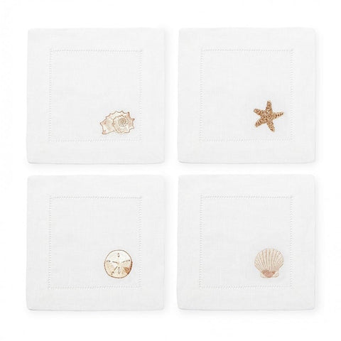 Sferra Beachcomber Embroidered Cocktail Napkins