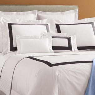 Sferra Orlo Bedding Collection  - White/Charcoal