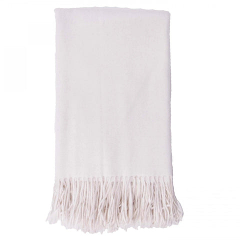 Alashan 100% Cashmere Plain Weave Throw - White