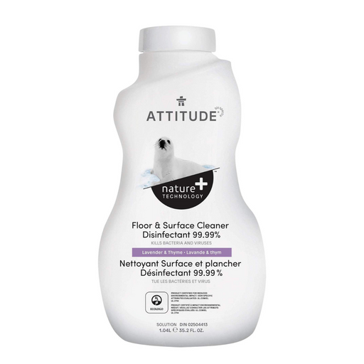 ATTITUDE Floor Surfaces (Tiles and Wood) Cleaner Disinfectant 99.99% Thyme & Lavender, 1L - Breezily Inc.
