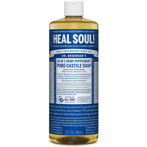 Dr. Bronner's Pure Castile Soap Peppermint, 946 mL - Breezily Inc.