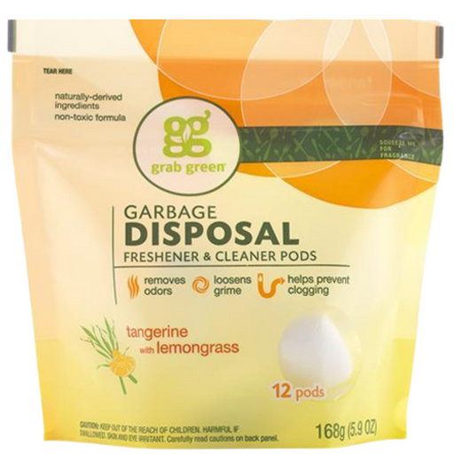 grab green Garbage Disposal Freshener & Cleaner Pods Tangerine, 12 Pods - Breezily Inc.