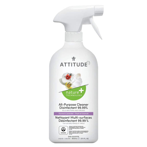 ATTITUDE All Purpose Cleaner Disinfectant 99.9% Thyme & Lavender, 800 mL - Breezily Inc.