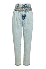 Studded Olivia Pleated Jean Acid Wash