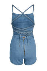 Jean Genie Denim Romper in Topanga Wash