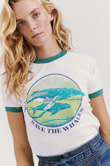 Save The Whales Ringer Tee Teal Rib