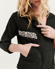 Studded Benatar Denim Jacket Black