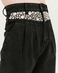 Studded Olivia Pleated Jean Black