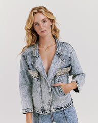 Studded Benatar Denim Jacket Acid Wash