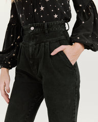 Olivia Pleated High Waisted Jean Black