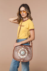 Moroccan Studded Coin Leather Bag Color Carmel