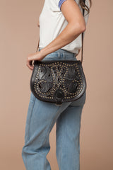 Moroccan Studded Leather Bag Color Dark Brown