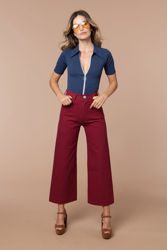 Jenny Sailor Pant in Burgundy