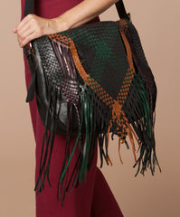 Moroccan hand braided Leather Bag Color Black