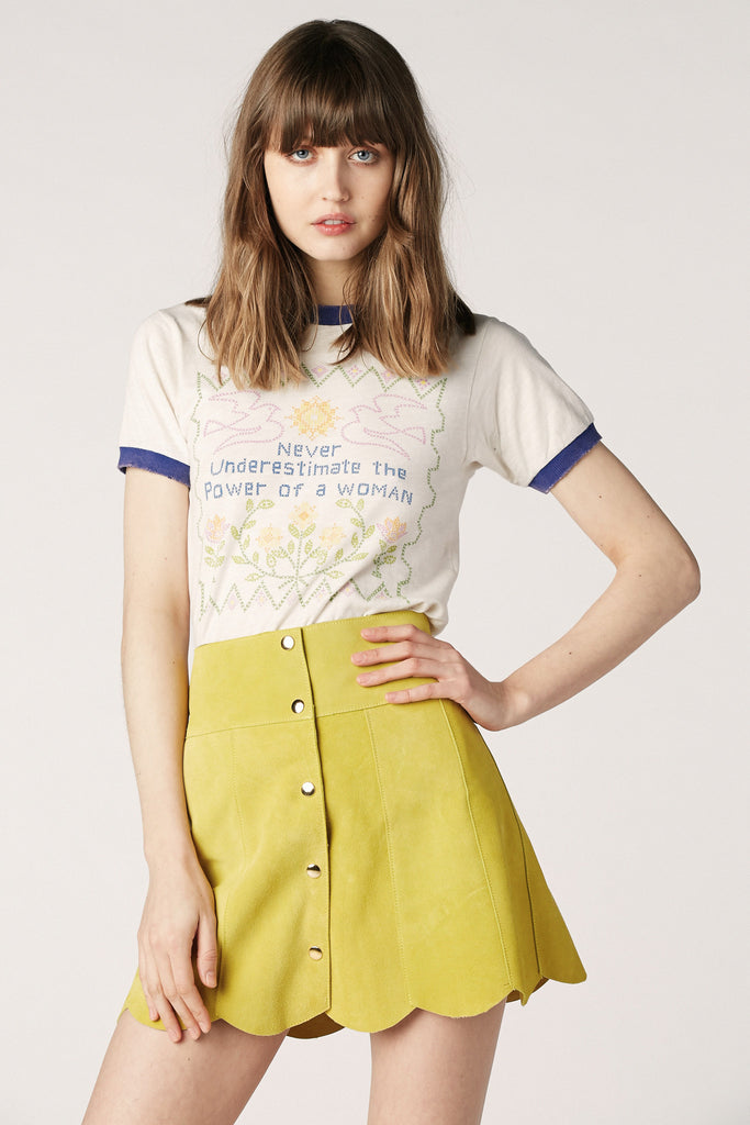 Marcia Suede Petal Skirt in Sunshine