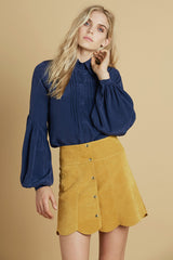 Secretary Silk Blouse in Navy