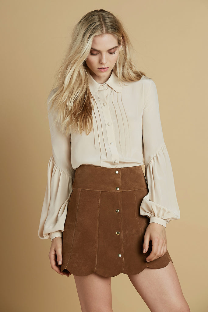 Secretary Silk Blouse in Cream
