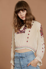 Josephine Cropped Peasant Blouse