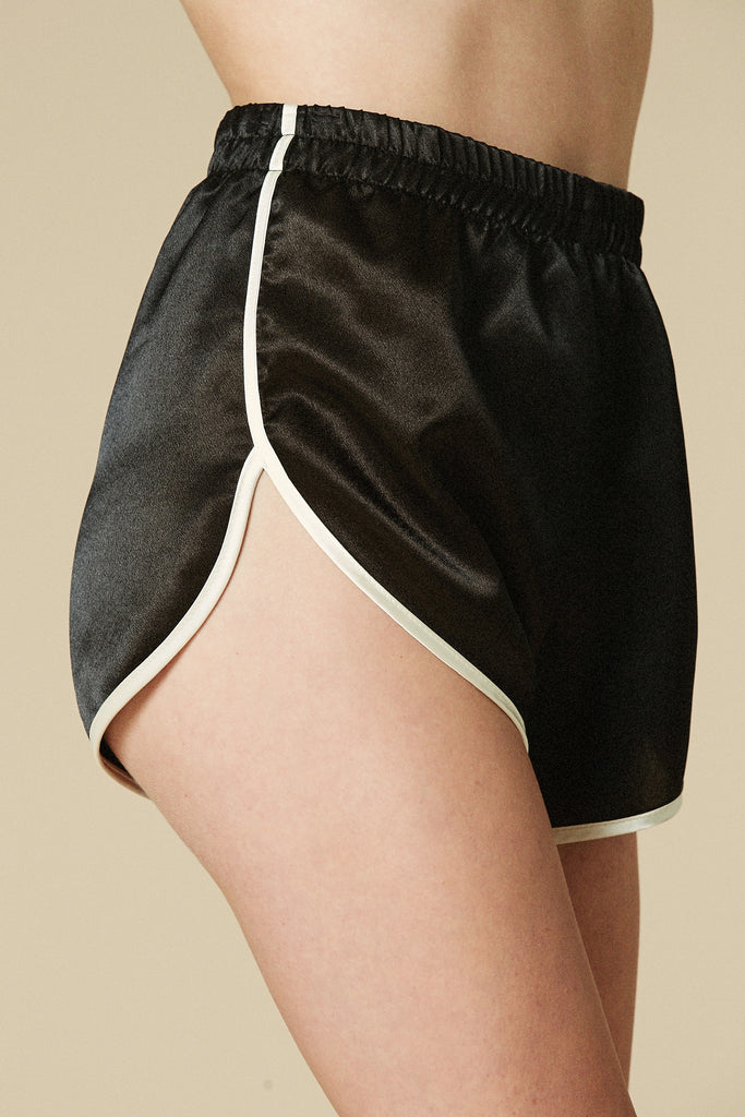 High School Lover Gym Shorts Black & Cream