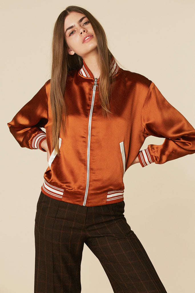 La Roller Girl Bomber in Burnt Orange