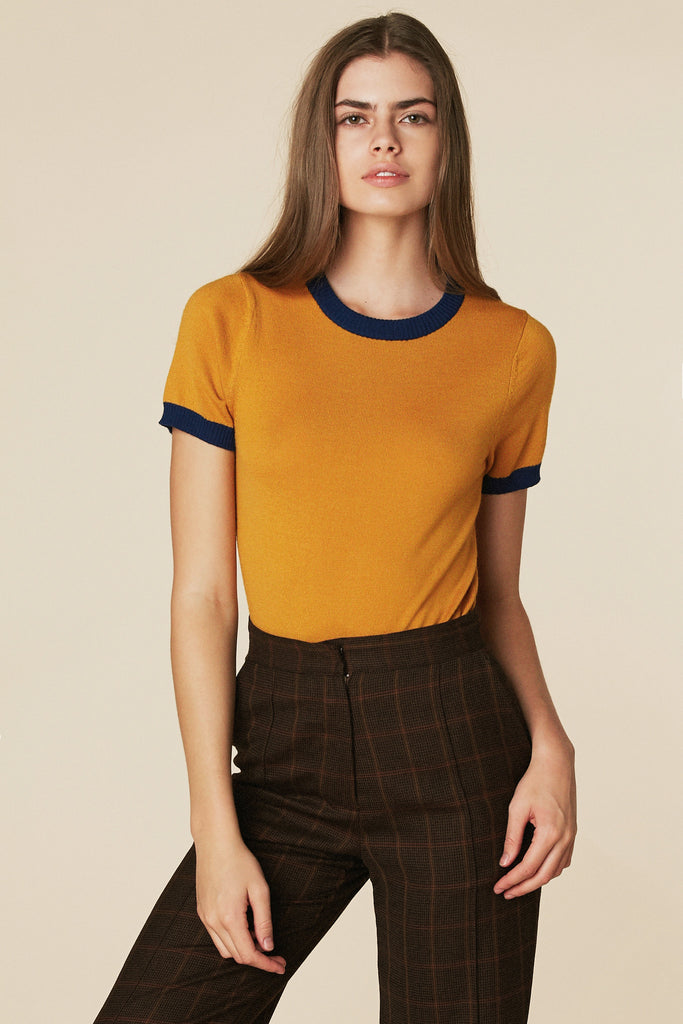Donna Sweater Tee in Mustard