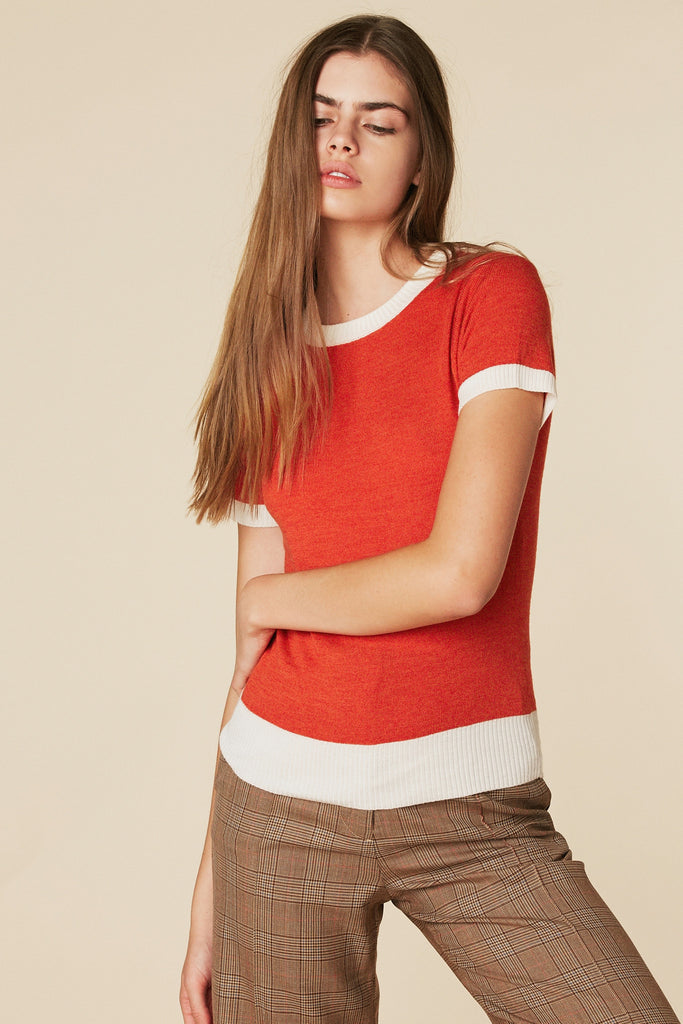 Donna Sweater Tee in Coral