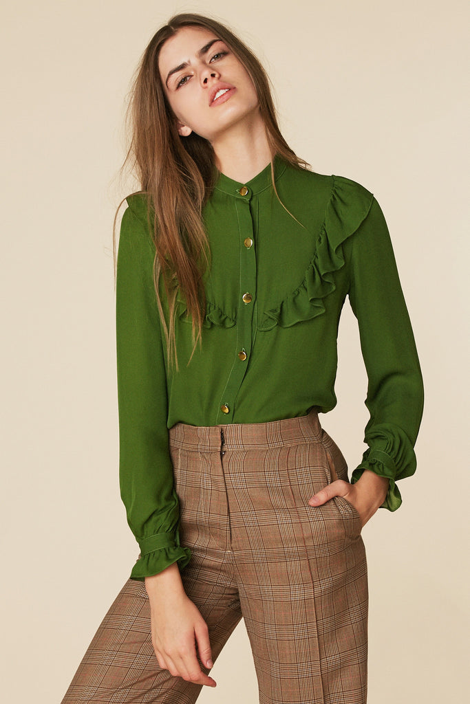 Brigitte Silk Blouse in Forest