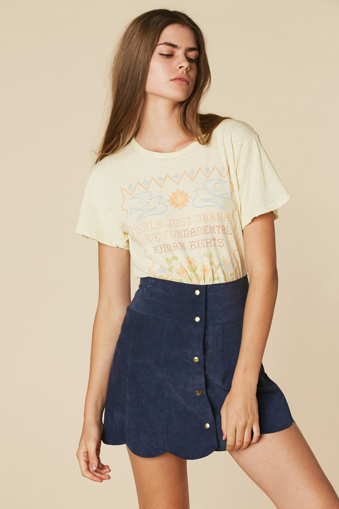Marcia Suede Petal Skirt in Navy