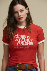 Music Is My Only Friend Tee Red