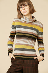 Gold Metal Ribbon 70's Lurex Turtleneck