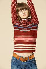 Take It Easy 70's Stripe Turtleneck