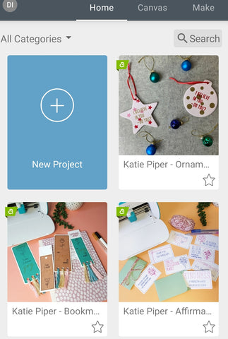 Smart phone or tablet view of Cricut Design Space Home Screen