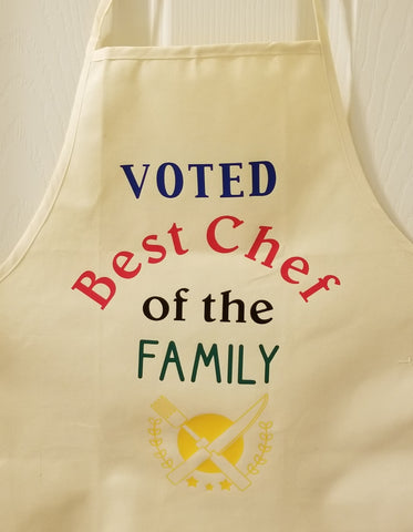 Apron, adult size, all cotton, beige color, Voted Best Chef of the Family