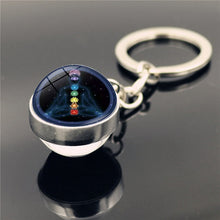 Load image into Gallery viewer, 7 Chakra Yoga Meditation Key Ring