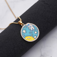 Load image into Gallery viewer, Cartoon Moon Astronaut Round Pendant Necklace