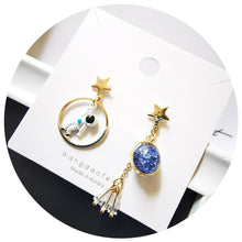 Load image into Gallery viewer, Planet Star Astronaut Tassel Drop Earrings