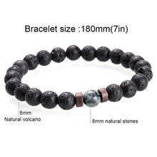 Load image into Gallery viewer, Men Bracelet Natural Moonstone Lava Stone