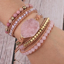Load image into Gallery viewer, Natural Stone Rose Quartz Bracelet