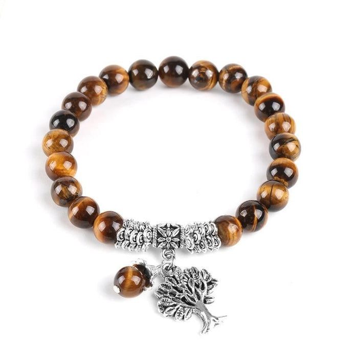 Natural Tiger Eye Lucky Gem Stone Tree of Life Bracelets