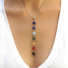 Load image into Gallery viewer, 7 Chakra Gemstone Beads Pendant Necklace Reiki